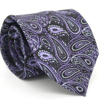 Ferrecci Slim Black & Purple Classic Paisley Necktie with Matching Handkerchief - Tie Set