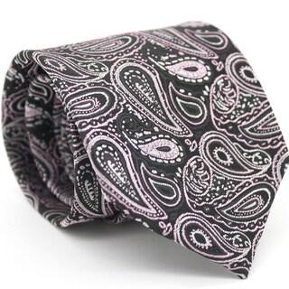 Ferrecci Slim Pink & Black Classic Paisley Necktie with Matching Handkerchief - Tie Set