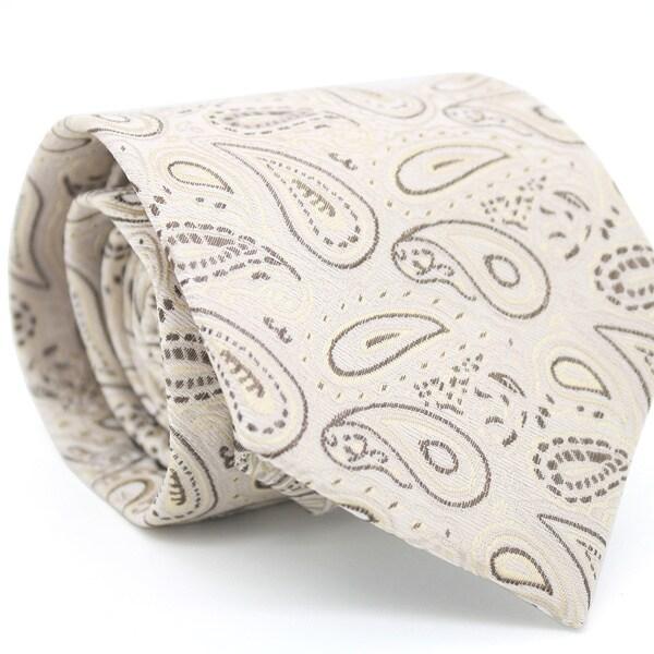 Ferrecci Slim Beige Classic Paisley Necktie with Matching Handkerchief - Tie Set