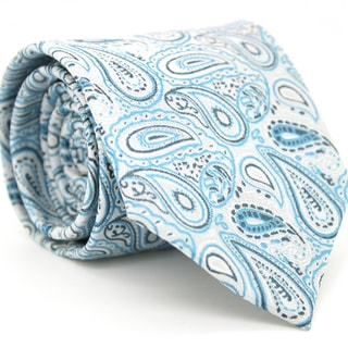 Ferrecci Slim Tourquoise Paisley Necktie with Matching Handkerchief - Tie Set