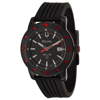 Bulova Men's 'Marine Star' Black Stainless Steel Japanese Quartz Watch