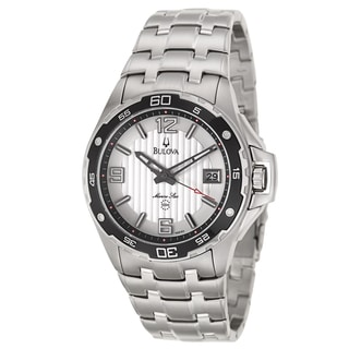 Bulova Men's 'Marine Star' Silver Stainless Steel Quartz Watch