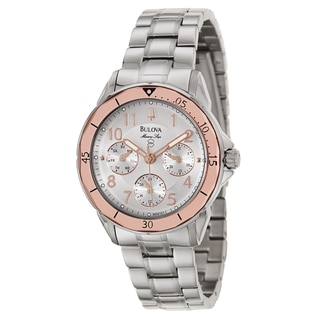 Bulova Women's 'Marine Star' Stainless Steel Military Time Watch