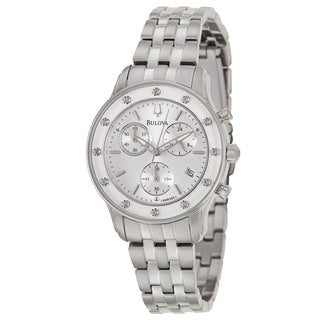 Bulova Women's 'Diamonds' Stainless Steel Chronograph Military Time Watch