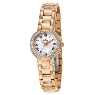 Bulova Women's 'Fairlawn' Rose Gold-Plated Stainless Steel Quartz Watch