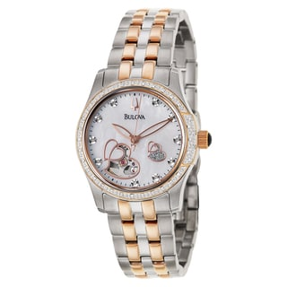 Bulova Women's 98R154 Diamond Rose Gold 21 Jewel Automatic Watch