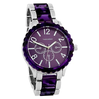 Vernier Women's Faux Chronograph Purple Bezel Silvertone Link Watch