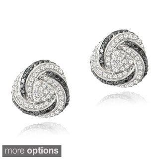 Glitzy Rocks Gold Over Silver 2/5ct TDW Diamond White Topaz Love Knot Earrings