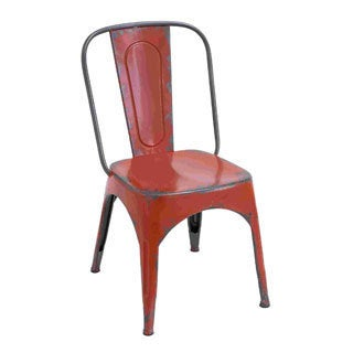 Distressed Red Metal Chair