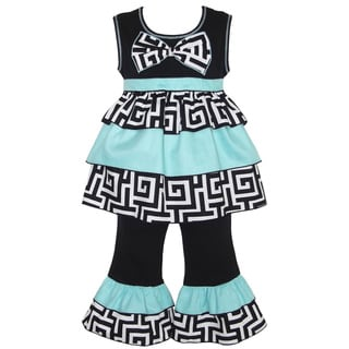 AnnLoren Girl's Geometric Rumba Tunic and Capri Set