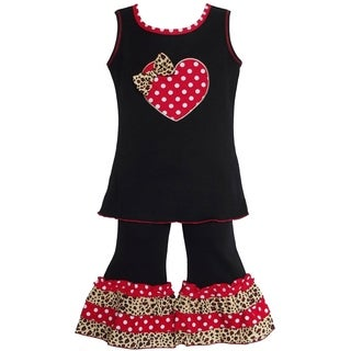 AnnLoren Girl's Polka Dot Leopard Heart Top and Capri Set