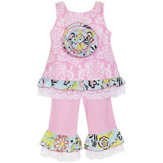 AnnLoren Girl's Pink Damask Tunic and Capri Set