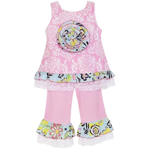 AnnLoren Girl's Pink Damask Tunic and Capri Set