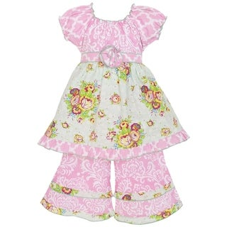 AnnLoren Girl's Damask Bouquet and Lattice Tunic and Capri Set