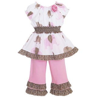AnnLoren Girl's Pink Elephant Tunic and Capri Set