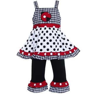 AnnLoren Girl's Polka Dot Lady Bug Tunic & Capri Set