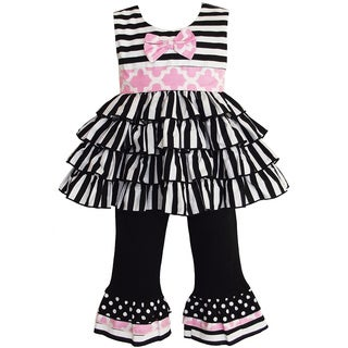 AnnLoren Girl's Black and White Striped Rumba Tunic and Capri Set