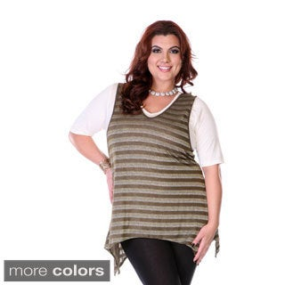 Women's Plus Size Stripe Vest