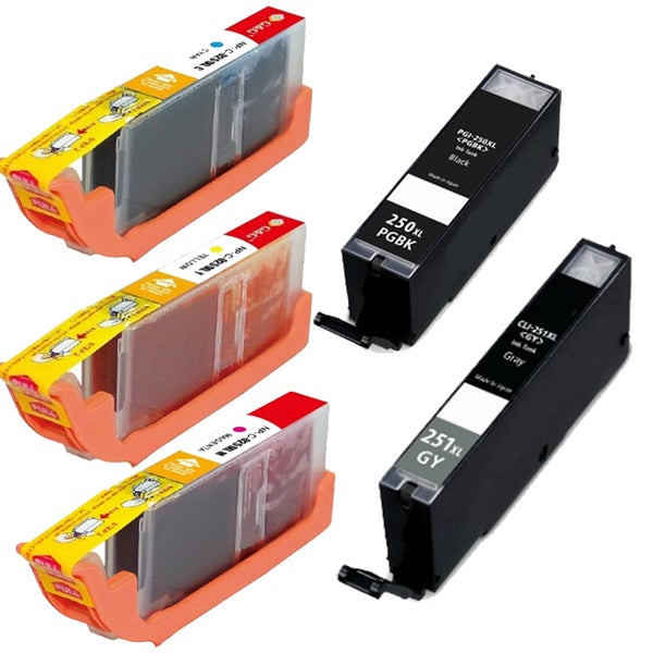 Canon CLI-251XL Black, Cyan, Yellow, Magenta, Grey High-Yield Ink Cartridges (Pack of 5)