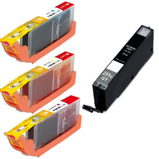 Canon CLI-251XL Cyan, Yellow, Magenta, Gray High-Yield Ink Cartridges (Pack of 4)