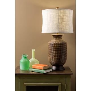 Oval Wood Finish Table Lamp