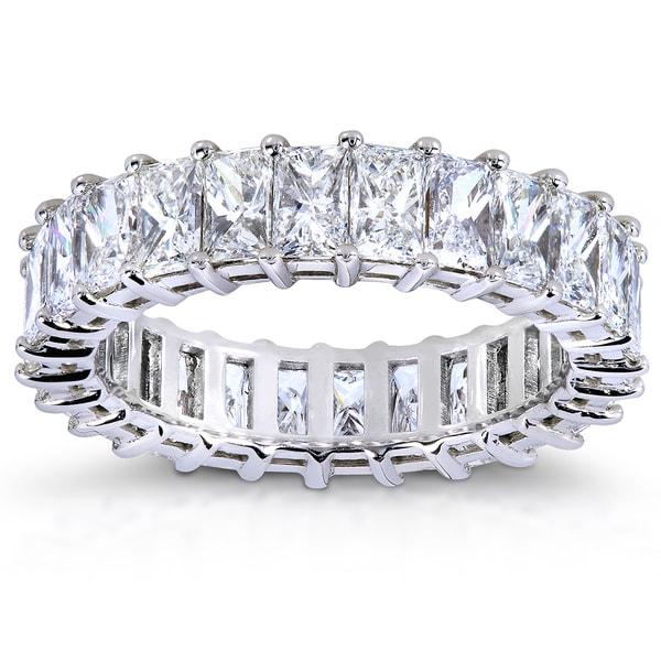 Annello 14k White Gold 4 1/2ct TDW Princess Baguette Diamond Eternity Band (G-H, VS2-SI1)