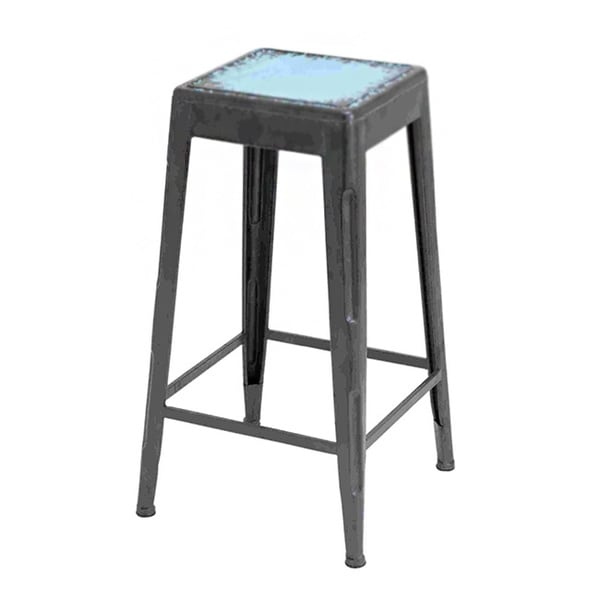 Matte Black/ Blue Finished Bar Stool