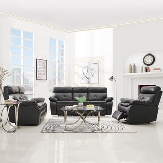 Rex Modern Black Bonded Leather Tufted Power Reclining Sofa Set