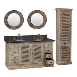 60-inch Marble Top Double Sink Rustic Bathroom Vanity with Dual Wall Mirror and Linen Tower