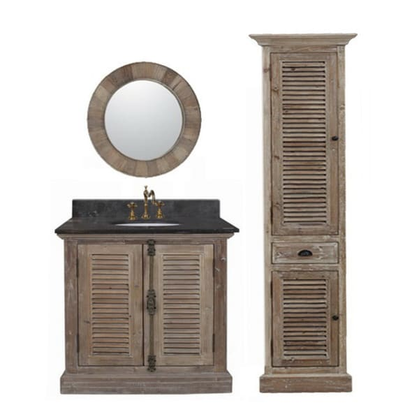 single sink rustic bathroom vanity with matching wall mirror and linen
