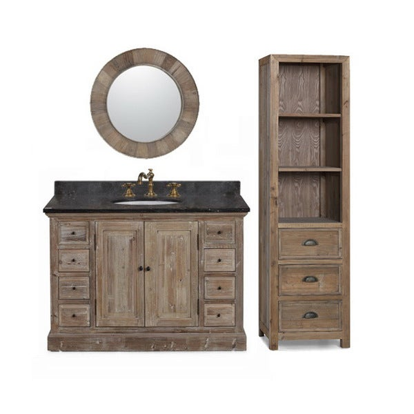 Elegant BasinTop SingleSink Bathroom Vanity With Matching Wall Mirror