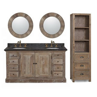 60-inch Marble Top Double Sink Rustic Bathroom Vanity with Matching Daul Wall Mirrors and Linen Tower