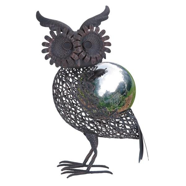 Metal Owl Gazing Ball Garden Decor