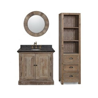 36-inch Marble Top Single Sink Rustic Bathroom Vanity with Matching Wall Mirror and Linen Tower