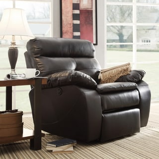 Rex Modern Black Bonded Leather Tufted Power Reclining Chair