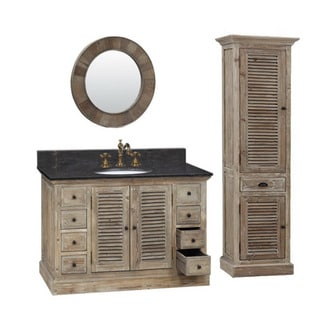 48-inch Marble Top Single Sink Rustic Bathroom Vanity with Matching Wall Mirror and Linen Tower
