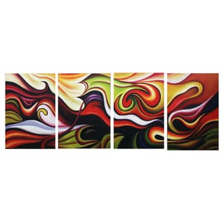 Integration Multi-Color Abstract Hand-painted 4-piece Painting