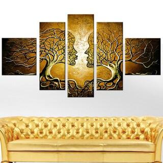 Brown Human Tree 5-piece Painting