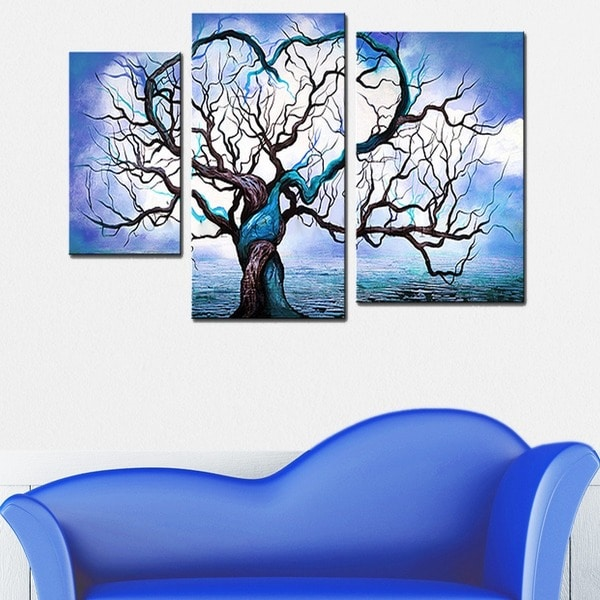 Abstract Tree Hand-painted 3-piece Painting 12274216