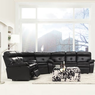 Rex Modern Black Bonded Leather Tufted Power Reclining 3-piece Sectional Set