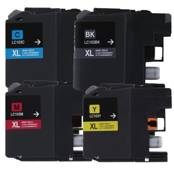 Brother LC103 Black, Cyan, Yellow, Magenta Compatible Ink Cartridge (Remanufactured) (Pack of 4)