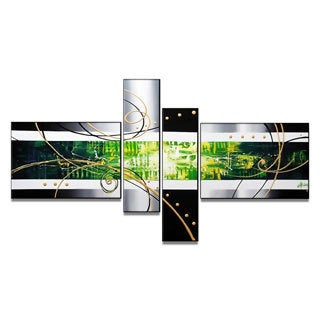 Hand-painted Green Abstract 4-piece Art Set
