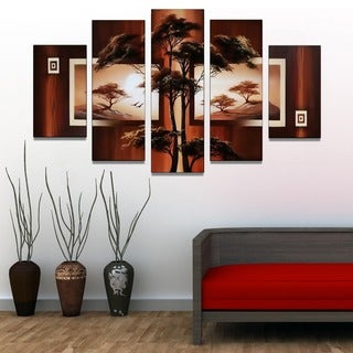 African Tree Landscape Hand-painted 5-piece Artwork
