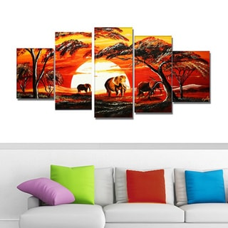 African Elephants Hand-painted 5-piece Painting