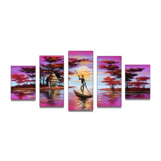 African Boat Landscape Hand-painted Oil on Canvas 5-piece Painting