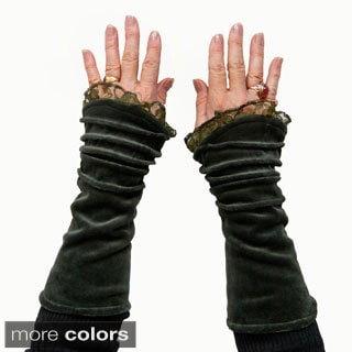 Velvet Fingerless Ruffled Gloves (Nepal)