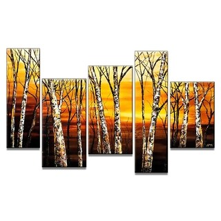 Fall Forest Hand-painted 5-piece Oil Painting
