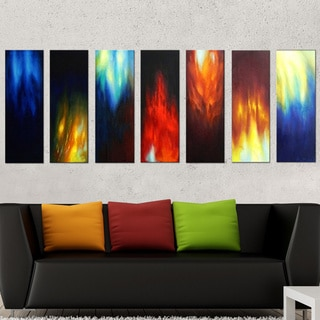 Abstract Burning Colors Hand-painted 7-piece Oil Painting