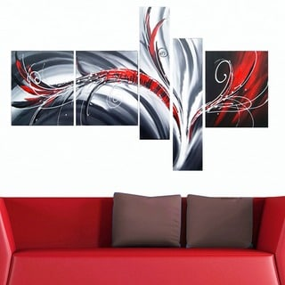 Abstract Flow Hand-painted 5-piece Oil Painting