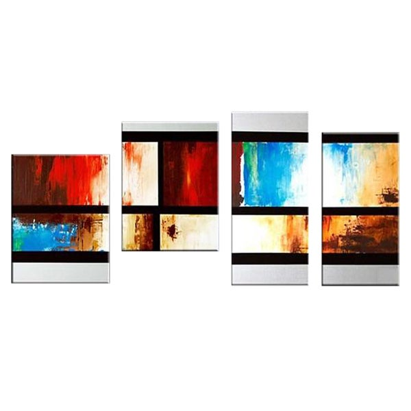 Abstract Squares Hand-painted 4-panel Oil Painting 12275730